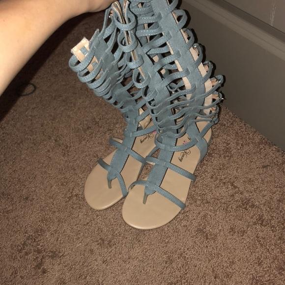 cb1efa4f86a Light blue denim gladiator sandals. M 5a3583473afbbd9b1201ae93